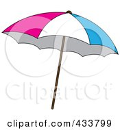 Royalty Free RF Clipart Illustration Of A Pink White And Blue Beach Umbrella by Pams Clipart