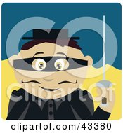 Clipart Illustration Of A Mexican Masked Outlaw Boy Holding A Sword