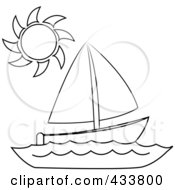 Royalty Free RF Clipart Illustration Of Line Art Of A Sun Over A Sailboat At Sea
