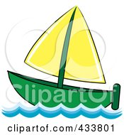 Royalty Free RF Clipart Illustration Of A Green And Yellow Sailboat At Sea