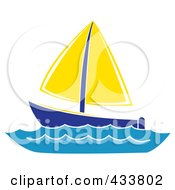 Royalty Free RF Clipart Illustration Of A Blue And Yellow Sailboat At Sea