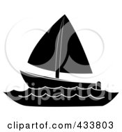 Royalty Free RF Clipart Illustration Of A Black And White Sailboat At Sea