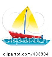 Royalty Free RF Clipart Illustration Of A Red And Yellow Sailboat At Sea