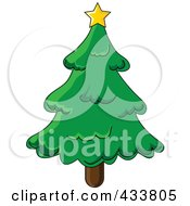 Royalty Free RF Clipart Illustration Of A Star On Top Of A Green Christmas Tree by Pams Clipart