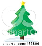 Royalty Free RF Clipart Illustration Of A Star On Top Of A Christmas Tree by Pams Clipart