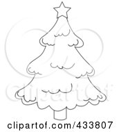Royalty Free RF Clipart Illustration Of Line Art Of A Star On Top Of A Christmas Tree by Pams Clipart