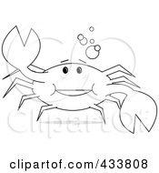 Royalty Free RF Clipart Illustration Of Line Art Of A Cheerful Crab Holding Up A Claw