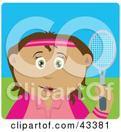 Clipart Illustration Of A Hispanic Girl Holding A Tennis Racket by Dennis Holmes Designs