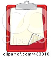 Royalty Free RF Clipart Illustration Of A Blank Page On A Red Clipboard by Pams Clipart