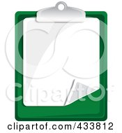 Royalty Free RF Clipart Illustration Of A Blank Page On A Green Clipboard by Pams Clipart
