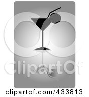 Royalty Free RF Clipart Illustration Of A Silhouetted Cocktail With A Citrus Garnish Over Gray