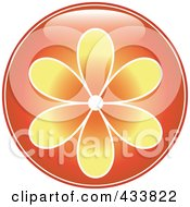 Shiny Round Orange Flower Icon