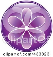 Shiny Round Purple Flower Icon
