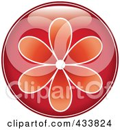 Shiny Round Red Flower Icon