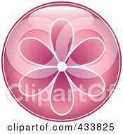 Shiny Round Pink Flower Icon
