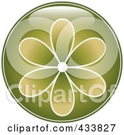 Shiny Round Green Flower Icon