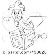 Royalty Free RF Clipart Illustration Of A Coloring Page Ouline Of A Joker Jack In The Box Toy