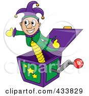 Royalty Free RF Clipart Illustration Of A Jester Jack In The Box Toy by Pams Clipart