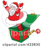 Royalty Free RF Clipart Illustration Of A Santa Jack In The Box Christmas Toy by Pams Clipart