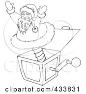 Royalty Free RF Clipart Illustration Of A Coloring Page Outline Of A Santa Jack In The Box Christmas Toy by Pams Clipart