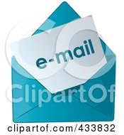 Royalty Free RF Clipart Illustration Of Email In A Blue Envelope