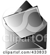 Royalty Free RF Clipart Illustration Of A Blank Letter In A Black Envelope by Pams Clipart