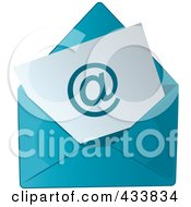 Royalty Free RF Clipart Illustration Of An Arobase Symbol On Paper In A Blue Envelope by Pams Clipart