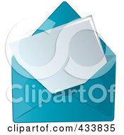Royalty Free RF Clipart Illustration Of A Blank Letter In A Blue Envelope by Pams Clipart