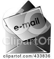 Royalty Free RF Clipart Illustration Of Email In A Black Envelope by Pams Clipart