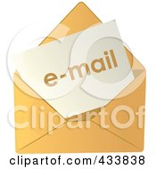Royalty Free RF Clipart Illustration Of Email In A Yellow Envelope by Pams Clipart