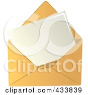 Royalty Free RF Clipart Illustration Of A Blank Letter In A Yellow Envelope by Pams Clipart