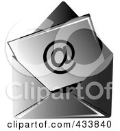 Royalty Free RF Clipart Illustration Of An Arobase Symbol On Paper In A Black Envelope by Pams Clipart