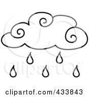 Royalty Free RF Clipart Illustration Of An Outlined Rain Cloud