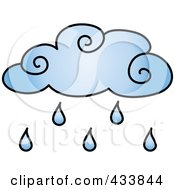 Royalty Free RF Clipart Illustration Of A Blue Raining Cloud