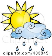 Royalty Free RF Clipart Illustration Of A Sun Behind A Blue Rain Cloud