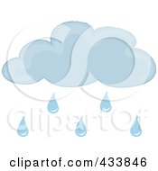 Royalty Free RF Clipart Illustration Of A Blue Cloud With Rain Drops