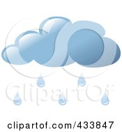 Royalty Free RF Clipart Illustration Of A Blue Rain Cloud