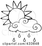 Royalty Free RF Clipart Illustration Of An Outline Of A Sun And Rain Cloud