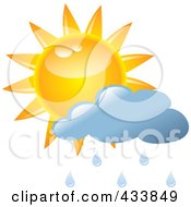 Royalty Free RF Clipart Illustration Of A Sun And A Blue Rain Cloud