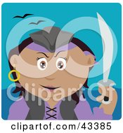 Clipart Illustration Of A Hispanic Pirate Woman Holding A Sword