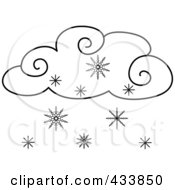 Royalty Free RF Clipart Illustration Of A Black And White Outline Of A Snow Cloud by Pams Clipart