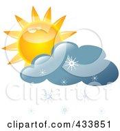 Royalty Free RF Clipart Illustration Of A Yellow Sun And Blue Snow Cloud by Pams Clipart