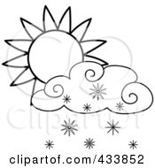 Royalty Free RF Clipart Illustration Of An Outline Of A Sun And Snow Cloud by Pams Clipart
