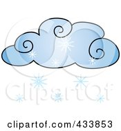 Royalty Free RF Clipart Illustration Of A Blue Cloud With Snow by Pams Clipart