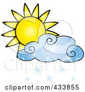 Royalty Free RF Clipart Illustration Of A Sun And Blue Snow Cloud by Pams Clipart
