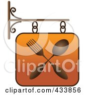 Royalty Free RF Clipart Illustration Of An Orange Restaurant Sign With A Fork And Spoon by Pams Clipart