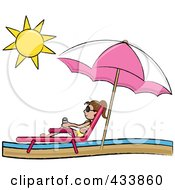 Royalty Free RF Clipart Illustration Of A Brunette Stick Girl Relaxing In A Lounge Chair On The Shore Under A Beach Umbrella