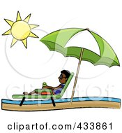 Royalty Free RF Clipart Illustration Of A Black Stick Boy Relaxing In A Lounge Chair On The Shore Under A Beach Umbrella by Pams Clipart