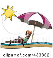 Red Haired Stick Boy Relaxing In A Lounge Chair On The Shore Under A Beach Umbrella