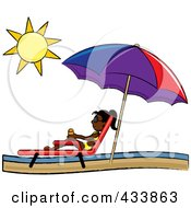Royalty Free RF Clipart Illustration Of A Black Stick Girl Relaxing In A Lounge Chair On The Shore Under A Beach Umbrella